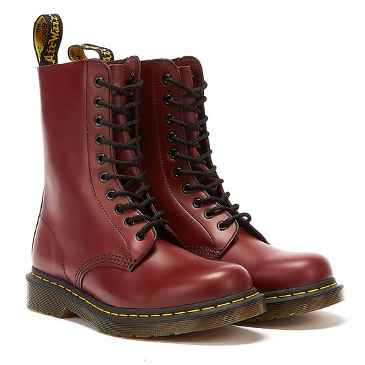 Dr. Martens1490 Womens Smooth Cherry Red Leather Boots