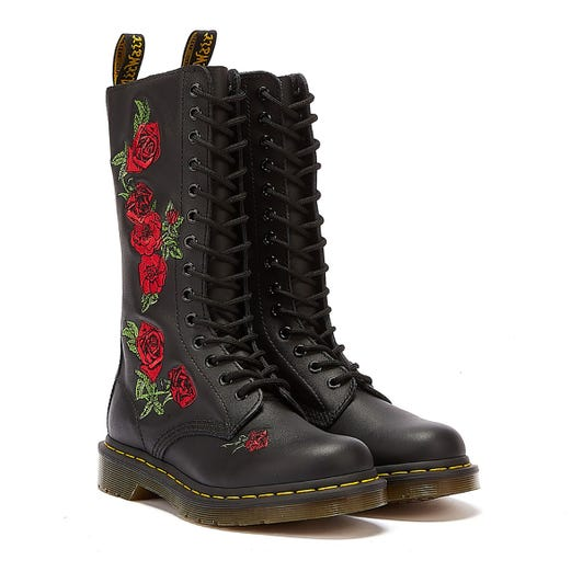 Dr. Martens Vonda Embroidered Rose Womens Black Mid Calf Boots