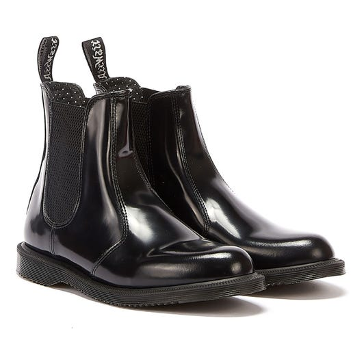 Dr. Martens Flora Womens Black Polished Smooth Leather Boots