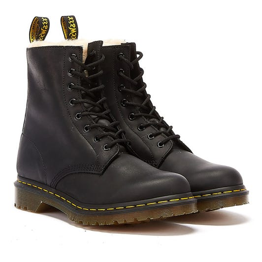 Dr. Martens 1460 Serena Fur Lined Womens Black Boots