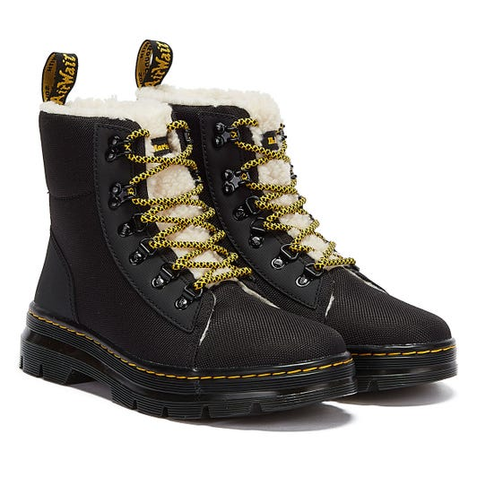 Dr. Martens Combs Fur Lined Womens Black Boots
