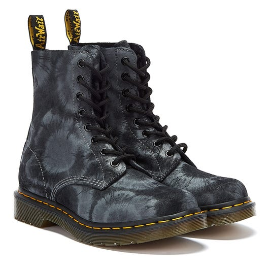 Dr. Martens Pascal Printed Suede Tie Dye Womens Black / Grey Boots