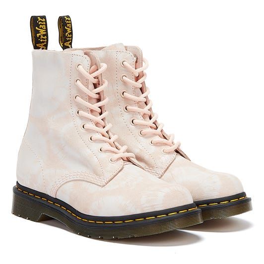 Dr. Martens Pascal Printed Suede Tie Dye Womens Pink / White Boots