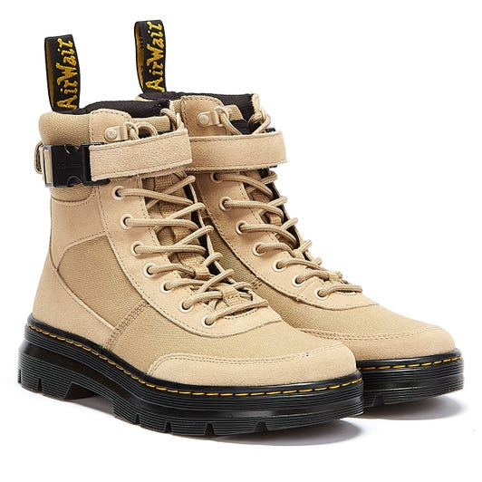 Dr. Martens Combs Tech Canvas & Suede Beige Boots