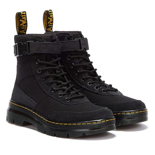 Dr. Martens Combs Tech Canvas & Suede Black Boots