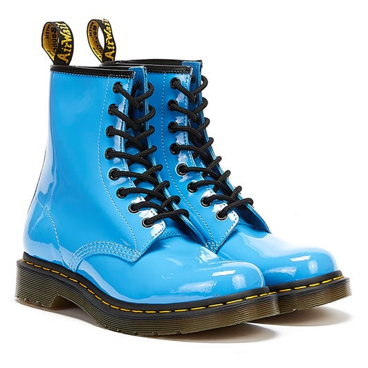 Dr Martens 1460 Patent Lamper Womens Mid Blue Boots