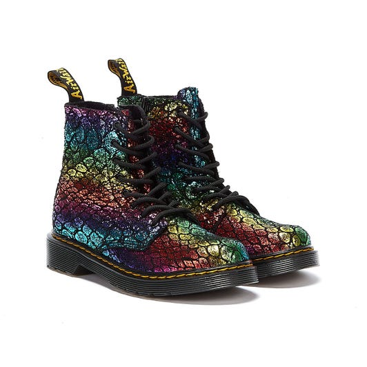 Dr. Martens 1460 Pascal Rainbow Virginia Junior Black Boots