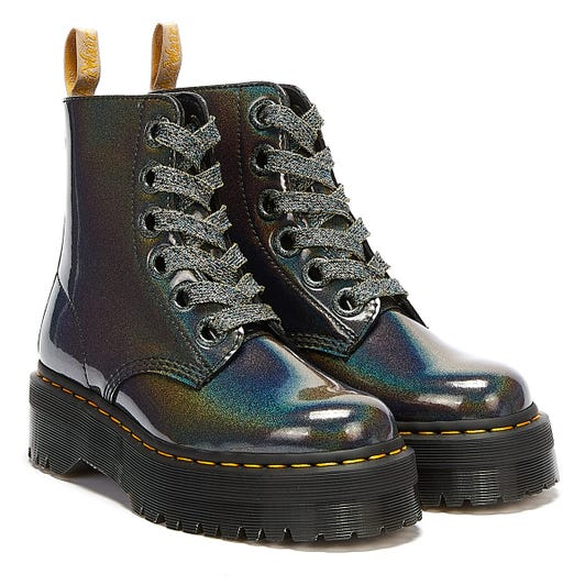 Dr. Martens Molly Prysm Vegan Womens Gunmetal Grey Boots
