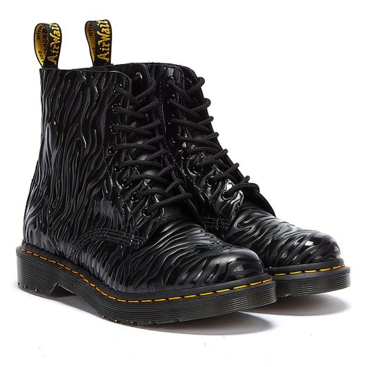 Dr. Martens 1460 Pascal Smooth Zebra Gloss Emboss Womens Black Boots