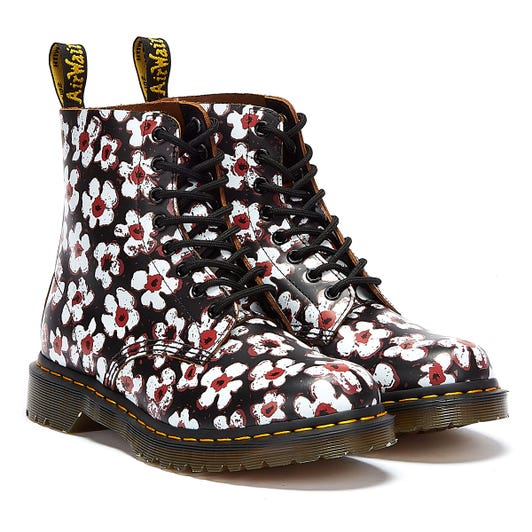 Dr. Martens 1460 Pascal Smooth Pansy Fayre Womens Black / White Boots