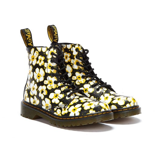 Dr. Martens 1460 Pascal Pansy Fayre Junior Black / White Boots