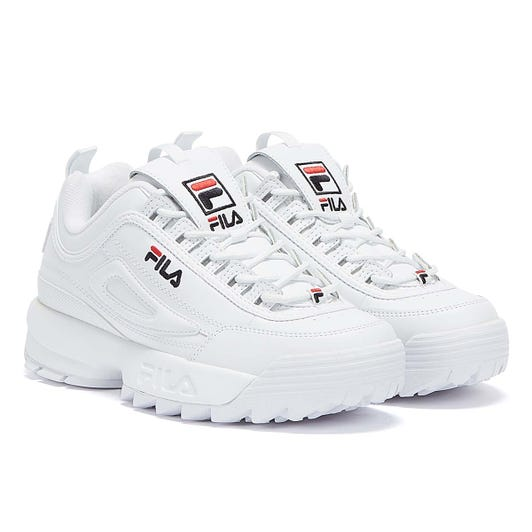 Fila Disruptor II Premium White Leather Trainers