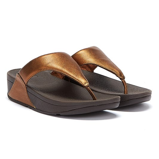 FitFlop Lulu Leather Womens Bronze Sandals