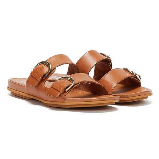 FitFlop Gracie Buckle Leather Womens Light Tan Slides