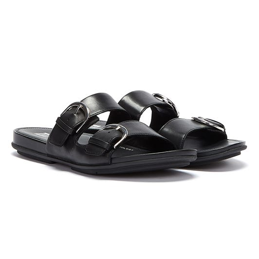 FitFlop Gracie Buckle Leather Womens Black Slides