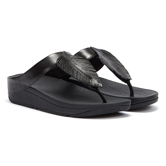 Fitflop Fino Leather Womens Black Sandals
