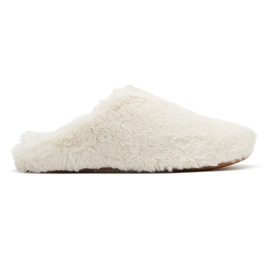 FitFlop Furry Womens White Slippers