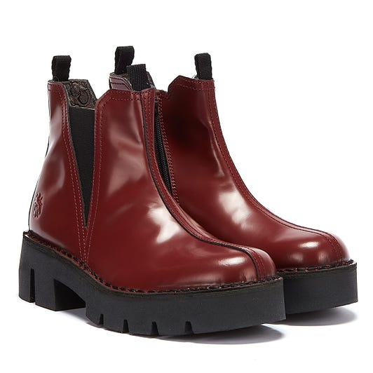 Fly London Baco Womens Red Leather Boots