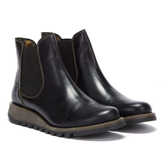 Fly London Womens Black Salv Leather Boots