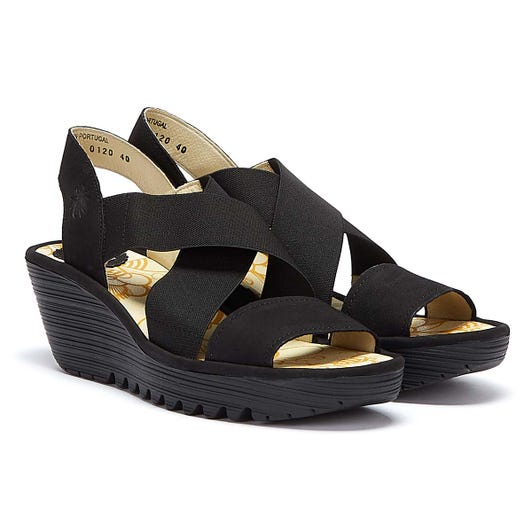 Fly London Yaji Women Black Wedge Sandals
