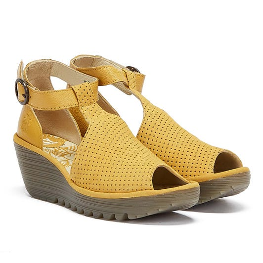 Fly London Yall Women Yellow Wedge Sandals