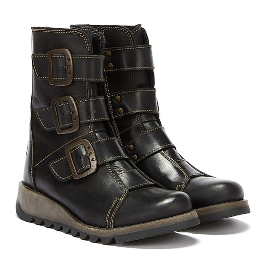 Fly London Scop Womens Black Leather Boots