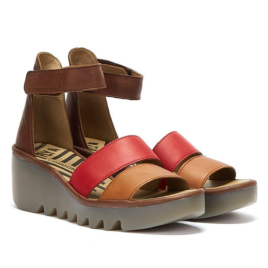 Fly London Bono Womens Brown / Red Sandals