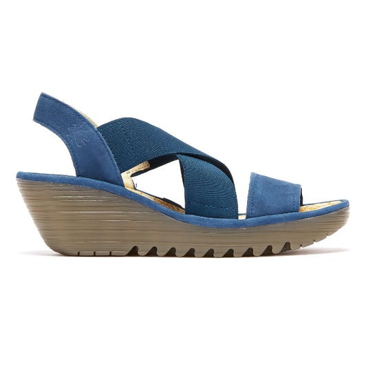 Fly London Yaji Women Blue Wedge Sandals