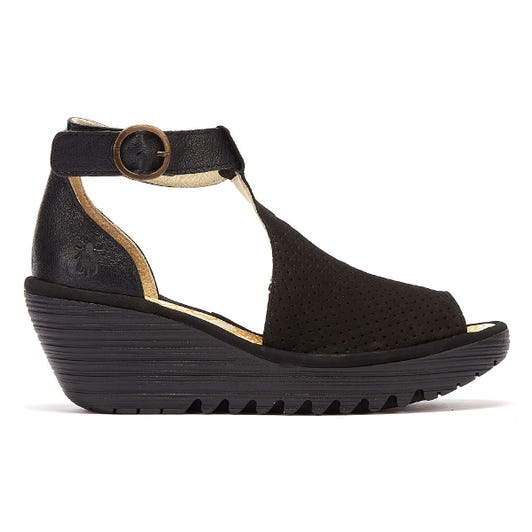 Fly London Yall Women Black Wedge Sandals