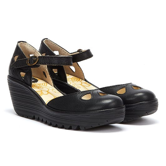 Fly London Yuna Womens Black Leather Wedge Sandals