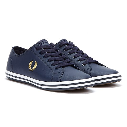 Fred Perry Kingston Leather Mens Navy / Gold Trainers