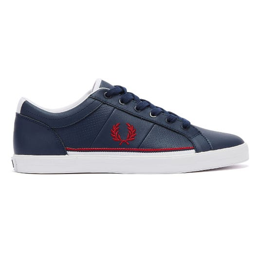 Fred Perry Baseline Perf Leather Mens Carbon Blue Trainers