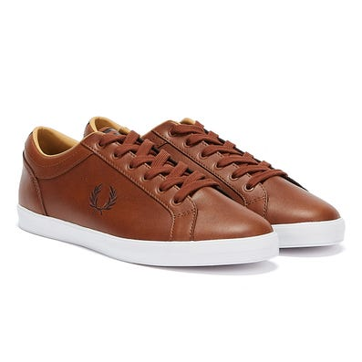 Fred Perry Baseline Leather Mens Brown Trainers