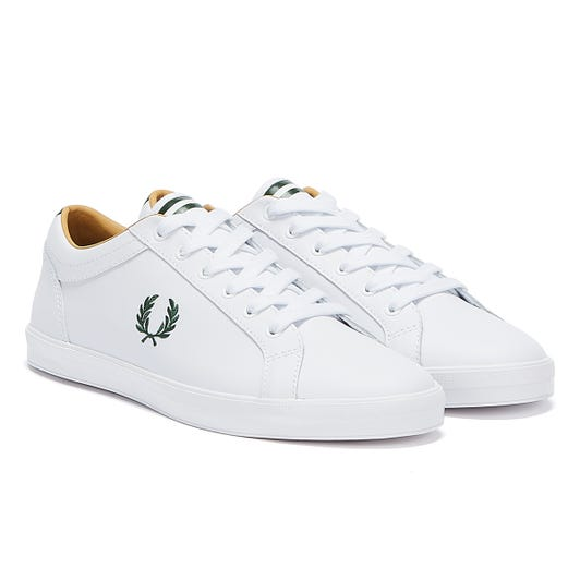 Fred Perry Baseline Leather Mens White / Green Trainers