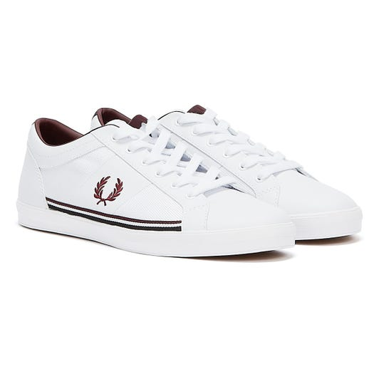 Fred Perry Baseline Tipped Mens White / Mahogany Trainers