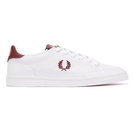 Fred Perry Deuce Leather Mens White / Burgundy Trainers