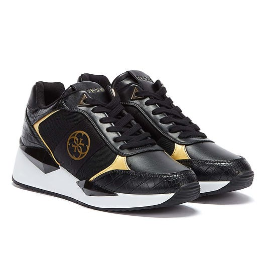GUESS Tesha Womens Black / Gold Trainers