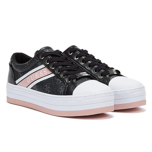 GUESS Barona Womens Black / White / Pink Trainers