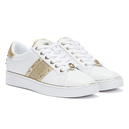 GUESS Bevlee Womens White Gold Trainers