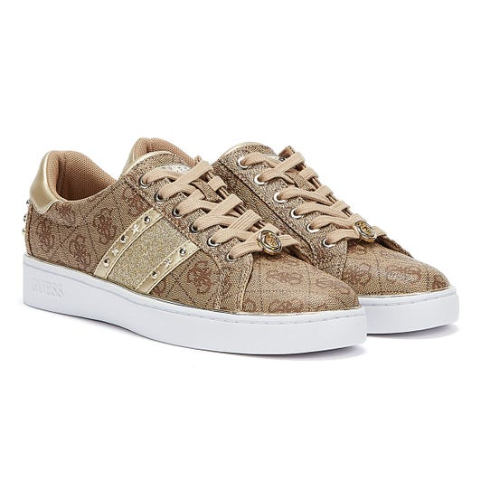 GUESS Bevlee Womens Beige Brown Trainers