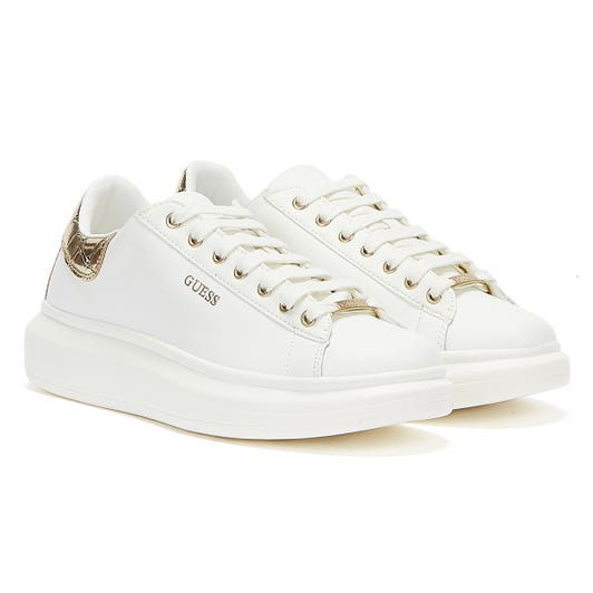 GUESS Salerno Womens White / Gold Trainers