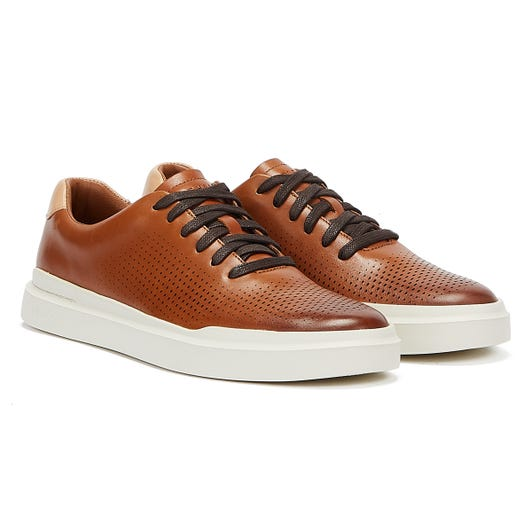 Cole Haan GrandPrø Raily Laser Cut Mens Tan / Ivory Trainers