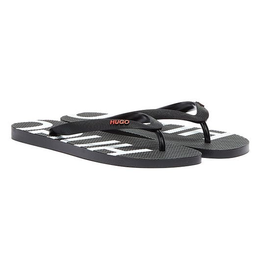 HUGO On Fire Mens Black Flip Flops