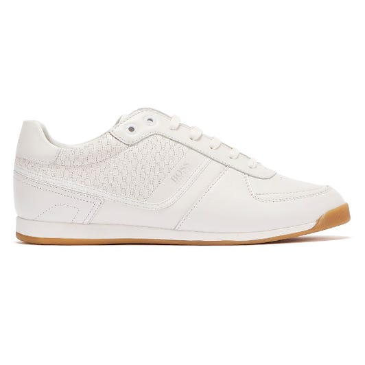 BOSS Glaze Leather Embossed Low Mens White Trainers