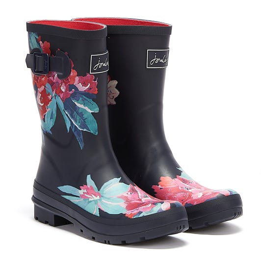 Joules Molly Mid Height Floral Womens Navy Wellies