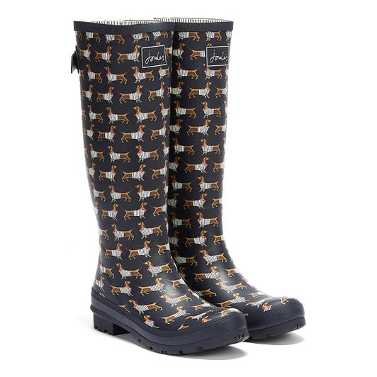 Joules Tall Gusset Print Sausage Dog Womens Navy Wellies