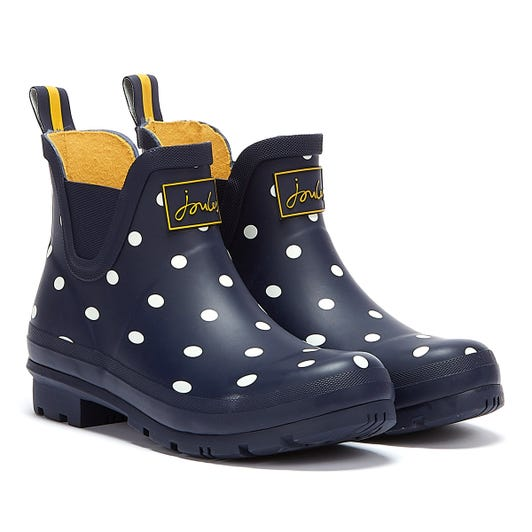 Joules Wellibob Short Height French Spot Womens Navy Wellies