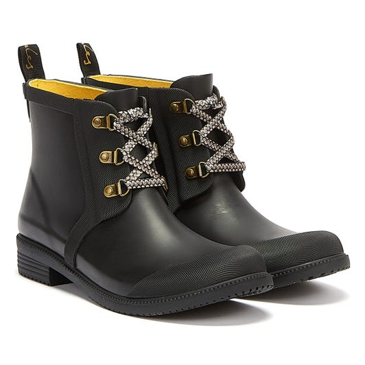 Joules Ashby Lace Up Womens Black Wellies