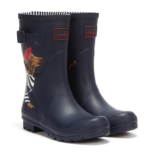 Joules Molly Mid Height Sausage Dog Womens Navy Wellies