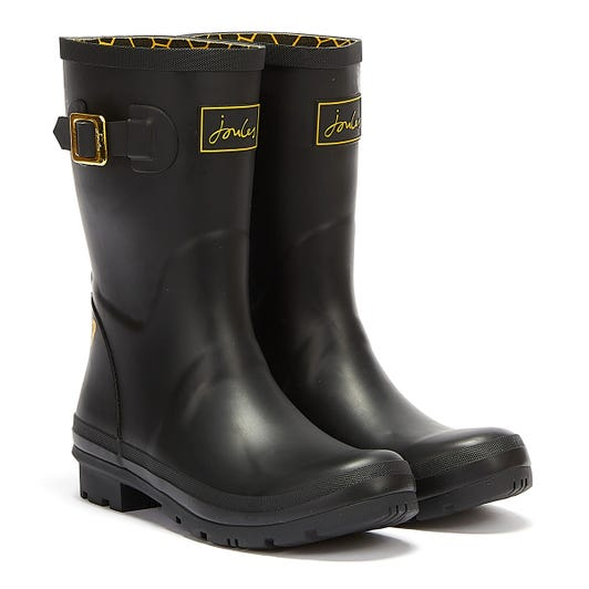 Joules Molly Mid Height Etched Bee Womens Black Wellies